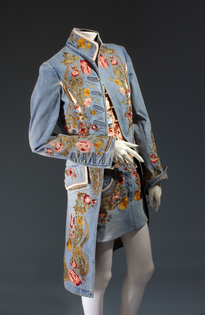 Roberto Cavalli, ensemble, embroidered denim, spring 2003, Italy, Gift of Roberto Cavalli, 2003.45.2